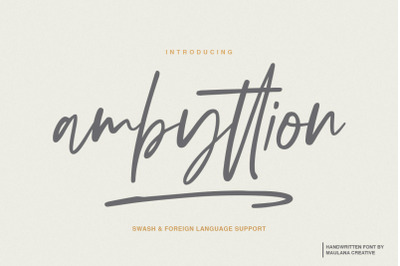 Ambyttion - Swash Handwritten Font