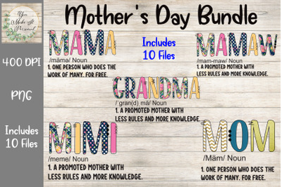 Mothers Day Bundle, Doodle Letters, Mom Definition