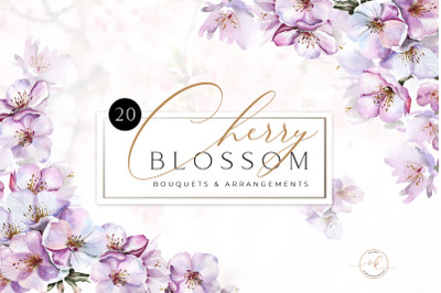 Cherry Blossom Watercolor Bouquets and Frames. Valentines Templates, W