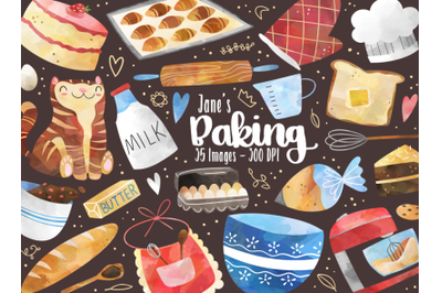 Watercolor Baking Clipart
