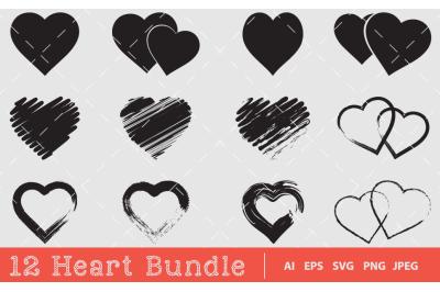 12 Heart Silhouette Bundle Design