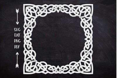 Celtic knots square frame laser cut paper cut template svg