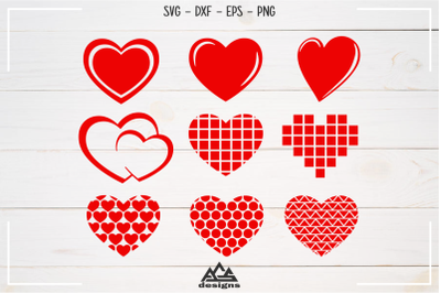 Love Heart Valentine Packs Svg Design