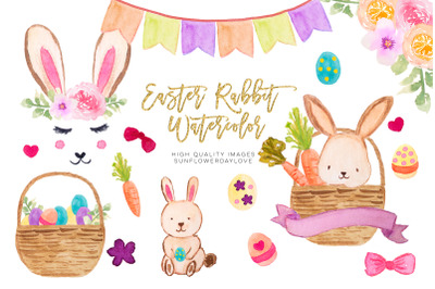 Spring Bunnies clipart, happy easter clipart