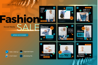 Fashion Sale Banner Social Media template collection lush lava theme