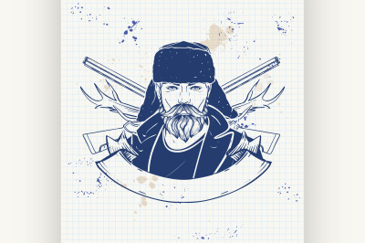 Sketch hunter man with beard 1