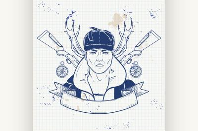 Sketch hunter man with beard 2