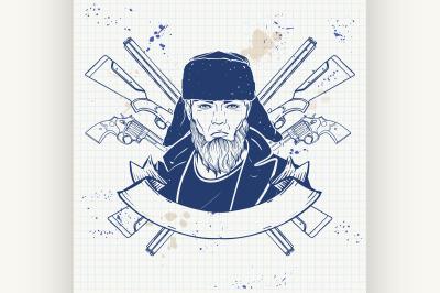 Sketch hunter man with beard 3