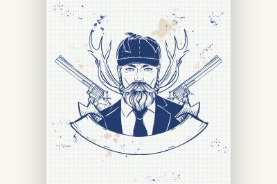 Sketch hunter man with beard 4