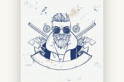 Sketch hunter man with beard 5
