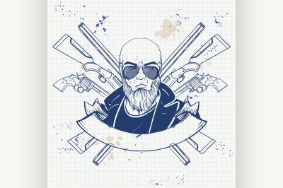Sketch hunter man with beard 6