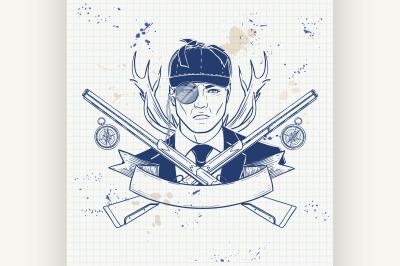 Sketch hunter man with beard 7
