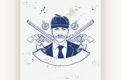 Sketch hunter man with beard 8