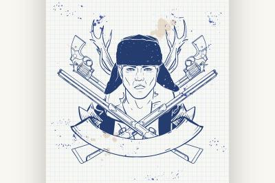 Sketch hunter man with beard 9
