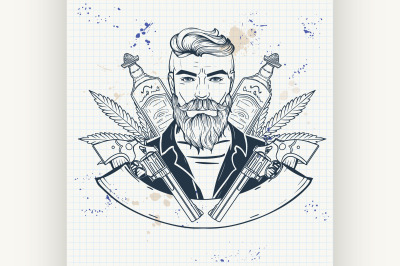 Hand drawn sketch mexican man