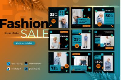 Fashion Sale Banner Social Media template collection lush lava theme 2