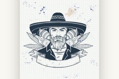 Hand drawn sketch mexican man 2
