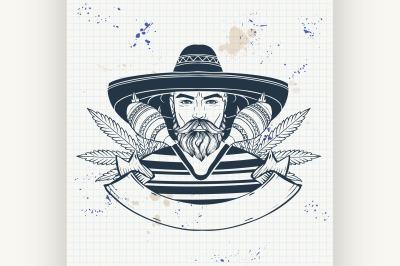Hand drawn sketch mexican man 3