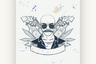 Hand drawn sketch mexican man 4