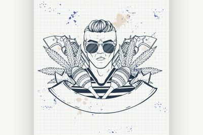 Hand drawn sketch mexican man 6