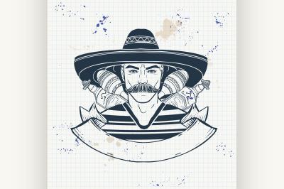 Hand drawn sketch mexican man 7