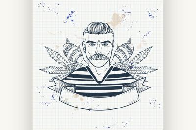 Hand drawn sketch mexican man 8