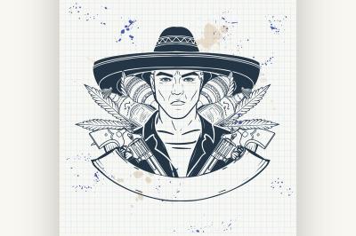 Hand drawn sketch mexican man 9