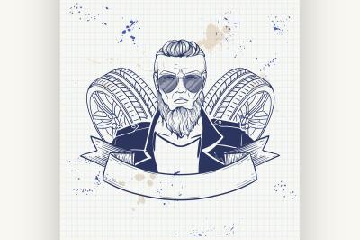 Hand drawn sketch racer man 1