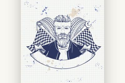 Hand drawn sketch racer man 2