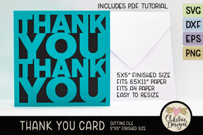 Thank You Card SVG Cutting File & Tutorial