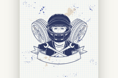Hand drawn sketch racer man 4