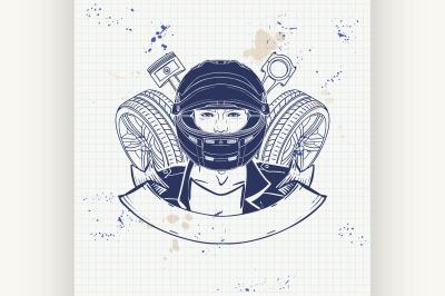 Hand drawn sketch racer man 6