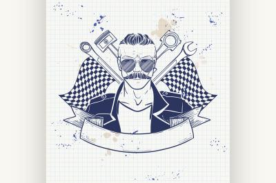 Hand drawn sketch racer man 7
