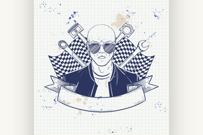 Hand drawn sketch racer man 9