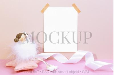 Card mockup on wall with & FREE BONUS