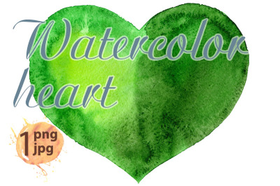 Watercolor green heart