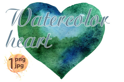 Watercolor dark green heart