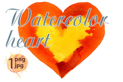 Watercolor orange heart with yellow center