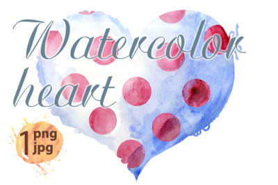 Watercolor white heart with a lace edge