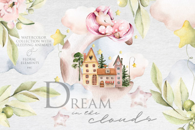 Dream in the clouds. Watercolor collection