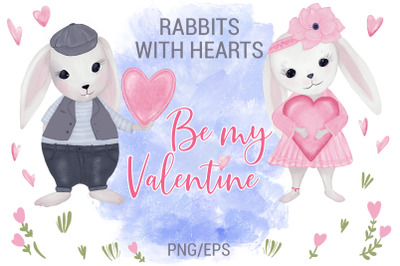 Rabbits With Hearts. Valentine's Day