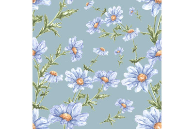 """Watercolor seamless pattern of flowers """"Delicate daisies."""""""