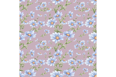 """Watercolor seamless pattern of flowers. """"Delicate daisies."""""""