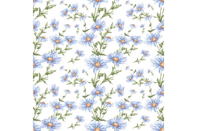 """Watercolor seamless pattern of flowers. """"Daisies""""."""