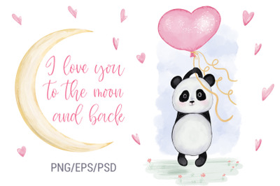 Panda With Balloon Heart. Valentine's Day