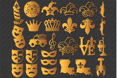 Earrings SVG, Mardi Gras Earrings SVG, Fleur de Lis Earring Template,