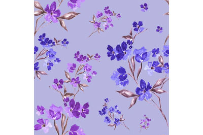 "Watercolor seamless pattern ""Delicate flowers""."