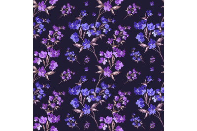 "Watercolor seamless pattern ""Beautiful flowers branch"""