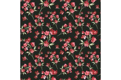 "Watercolor seamless pattern ""Beautiful flowers branch""."