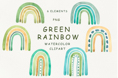 Watercolor green rainbow clipart